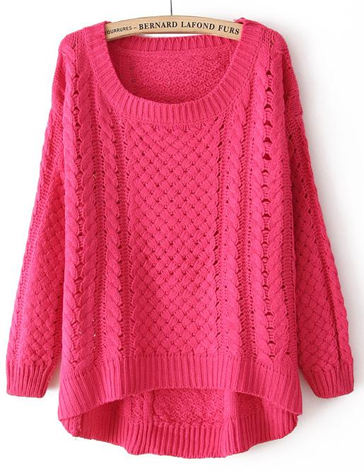 Rose Red Round Neck Long Sleeve Hollow Asymmetric Sweater - Sheinside.com