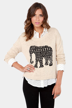 Mink Pink Pride of Place Sweater - Beige Sweater - Elephant Sweater - $71.00