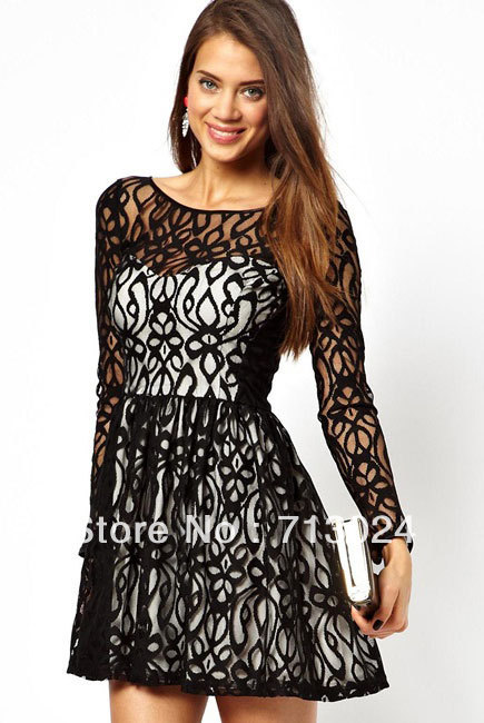 Fashion New Summer Women Sexy Black Long Sleeves Floral Lace Vintage Embroidered Skater Mini Party Dress 2961  Free Shipping-in Apparel & Accessories on Aliexpress.com
