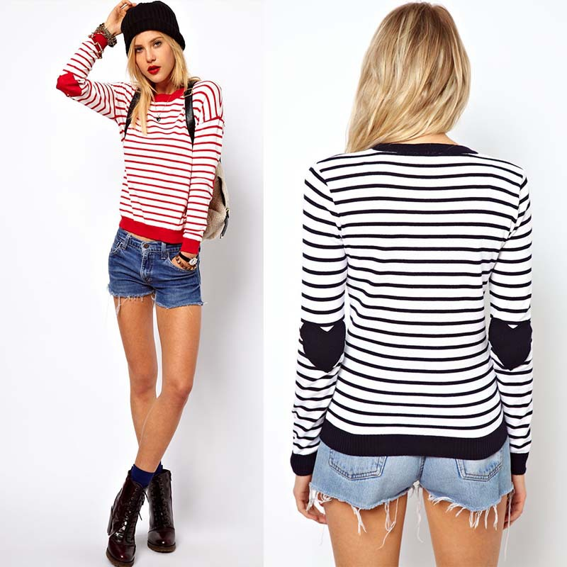 [SEKKES] 2013 NEW Women O neck Sweater Heart Patchwork Pullovers For Women Knitwear In Stripe  SWT035-in Pullovers from Apparel & Accessories on Aliexpress.com