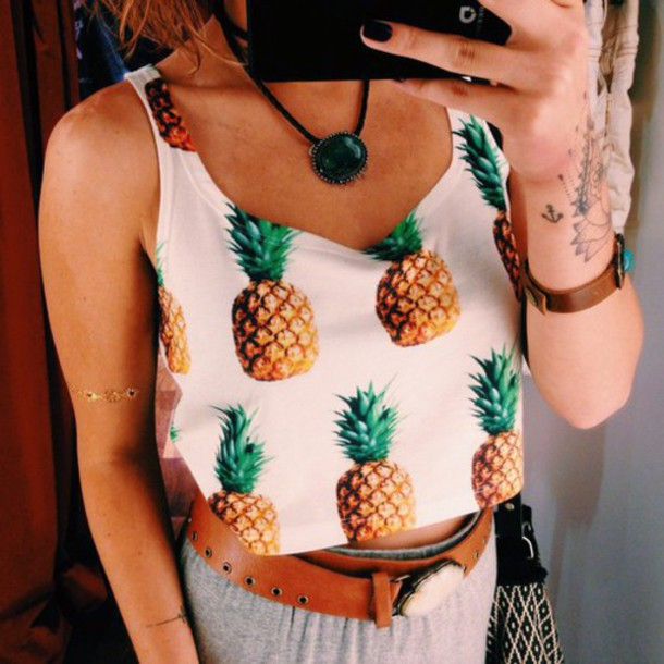 top crop tops pineapple print summer outfits