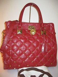 Michael Kors Red Quilted Large Hamilton Studded Tote Shoulder Bag $448   eBay