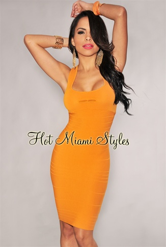 Tangerine Peep Hole Silky Knee Length Bandage Dress - As Seen on Kim Kardashian