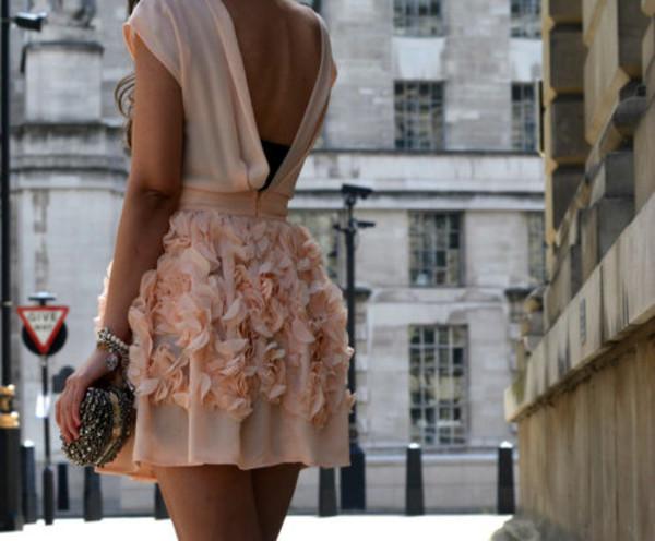 dress peach pink open back 3d floral flowers texture laser cut cute deep v back