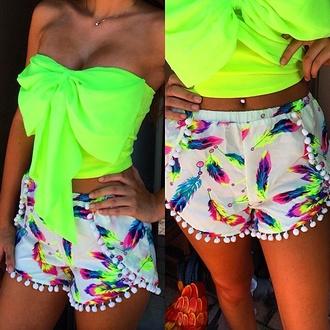 feathers bright strechmaterial top luminous yellow shorts shirt neon bun crop pants bow shirt cute summer tumblr