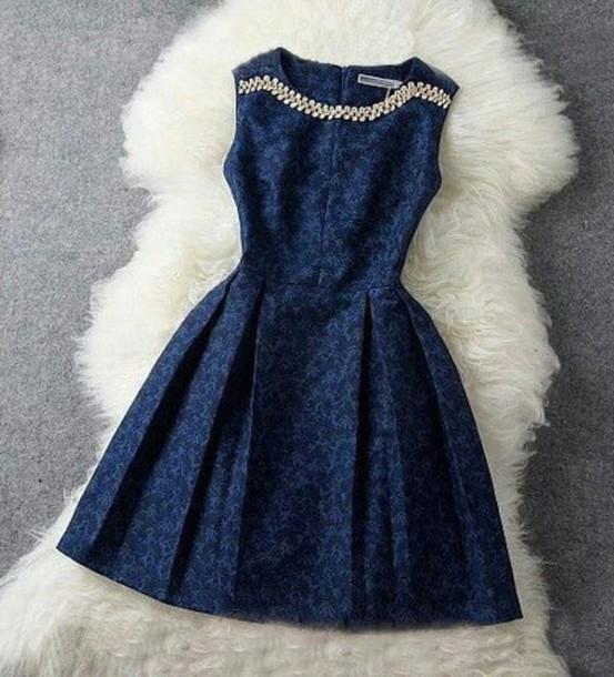 dress blue dress cute dress jewels short dress