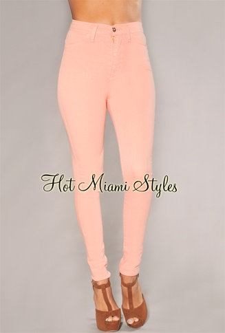 Peach High-Waist Skinny Jeans