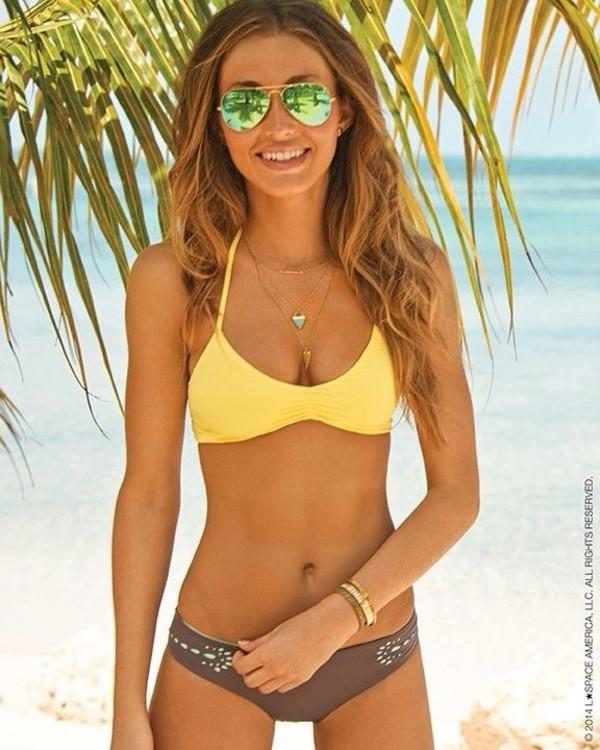 swimwear swimwear suit swimwear bikini halter neck straps yellow blue teal coral bottoms mismatched top so cute tan