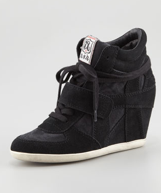 Ash Bowie Suede Wedge Sneaker, Black- 美国代购正品行货|美国直邮 - 美国购物网