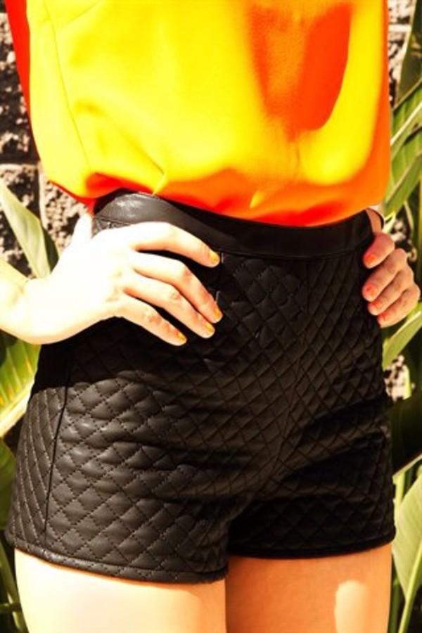 shorts black leather shorts