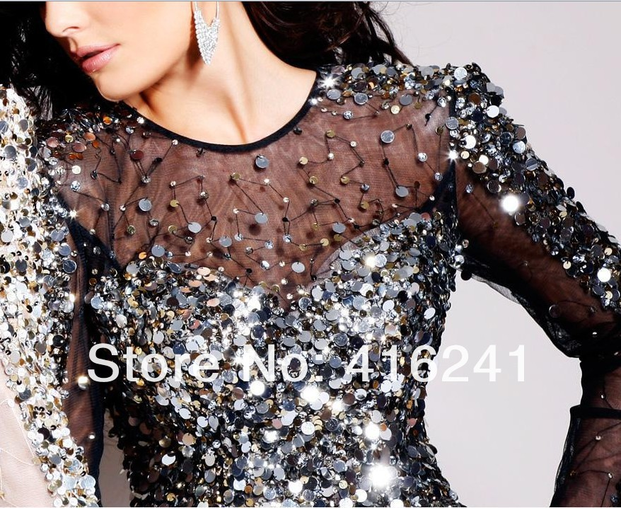 2014 Prom Dress Sexy Formal Short Sheath Sequins Fashion Jewel Collar Long Sleeves Tulle Crystals Custom Made-in Evening Dresses from Apparel & Accessories on Aliexpress.com