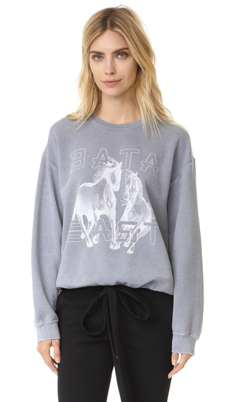 sweater fashion clothes baja east printed sweater washed fleece logo lettering