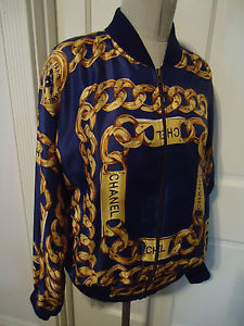 Chanel Vintage 80's 90's Navy Blue Gold ID Chain Logo Bomber Jacket Size L XL | eBay