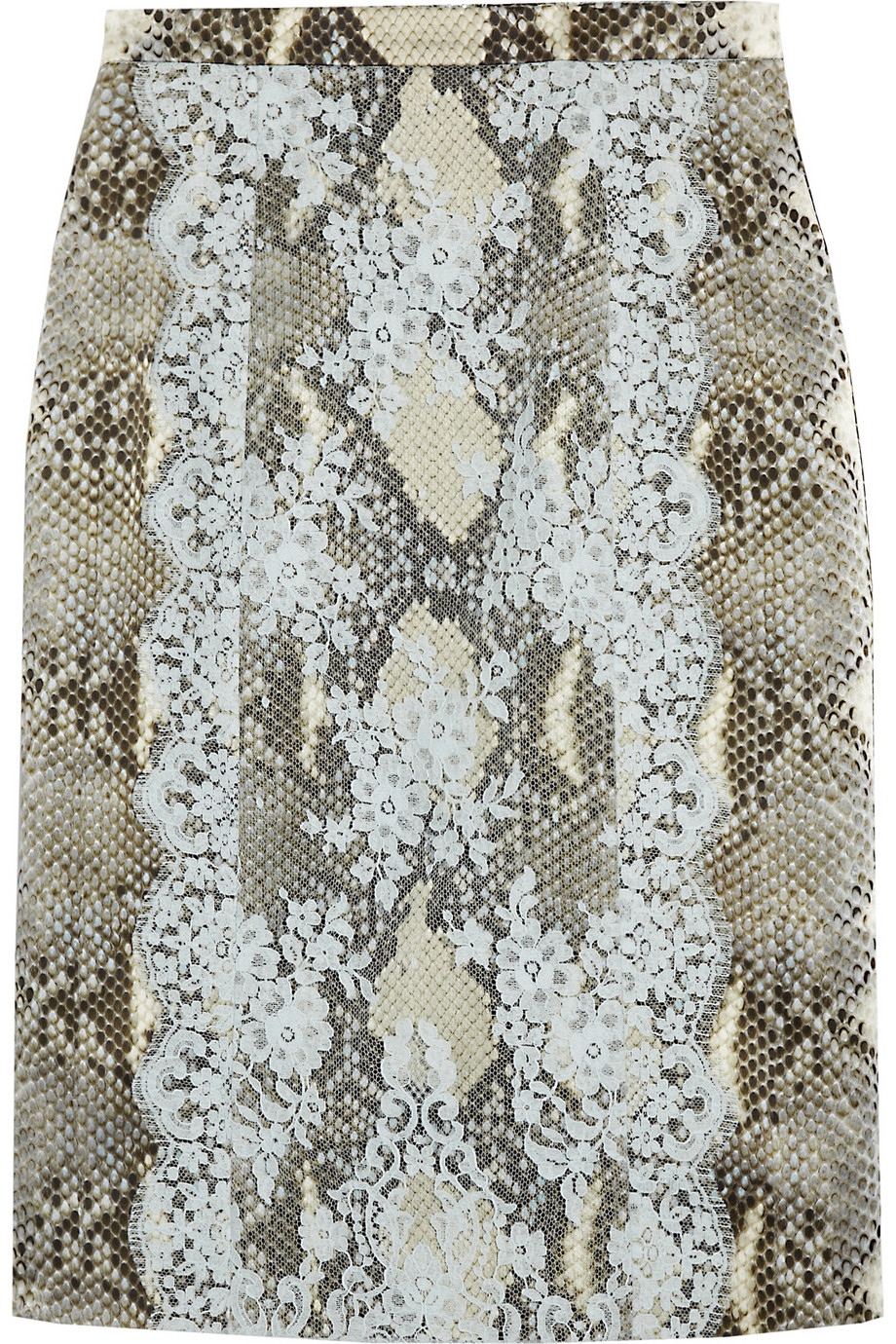 Ari python-print satin and lace pencil skirt | Erdem | THE OUTNET