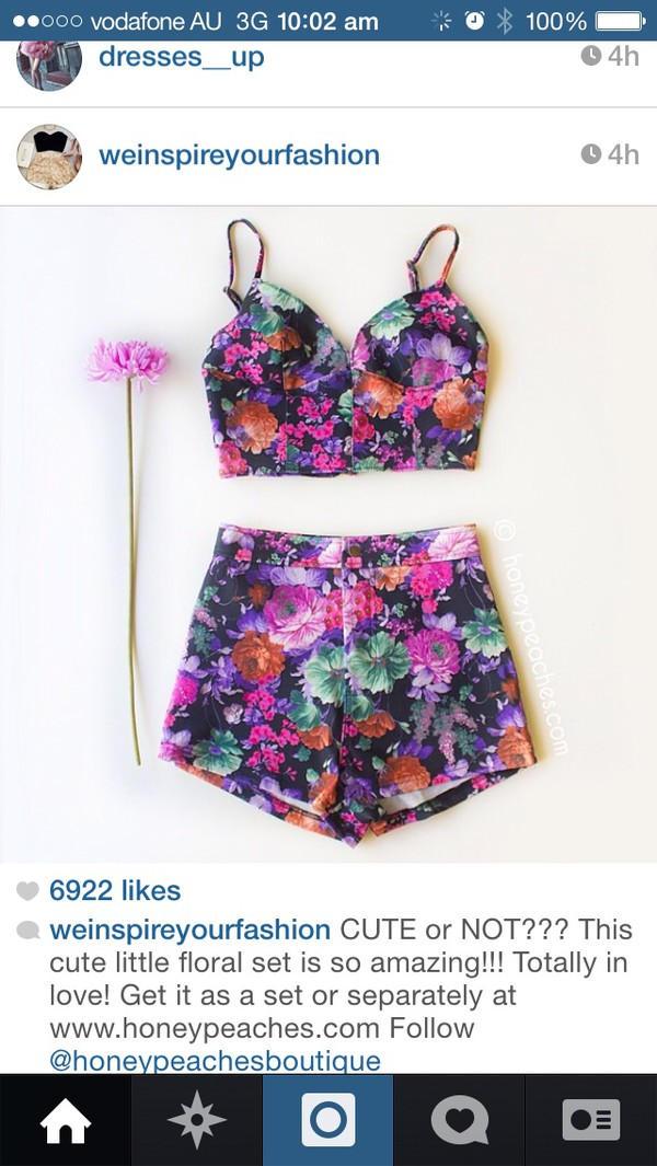 shorts two-piece floral crop