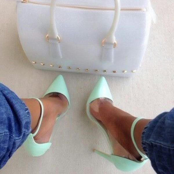 shoes pumps turquoise heels high heels hot sexy stilettos bag teal high heels clear handbag white handbag bling studs
