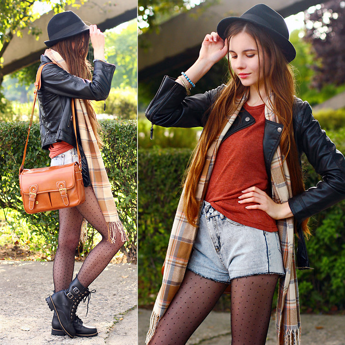 Ariadna Majewska - Romwe Denim Shorts, Tbdress Red Blouse, Vjstyle Brown Vintage Camera Bag, Chic Wish Black Leather Lace Up Boots, H&M Black Leather Jacket, Vesst Beige Plaid Scarf, Mohito Black Hat - Grunge | LOOKBOOK