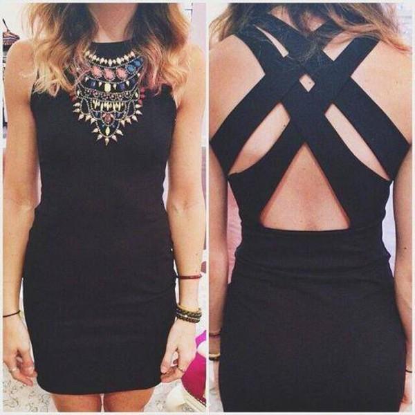 dress black dresd black dress cute sexy hot necklace wannakissu jewels