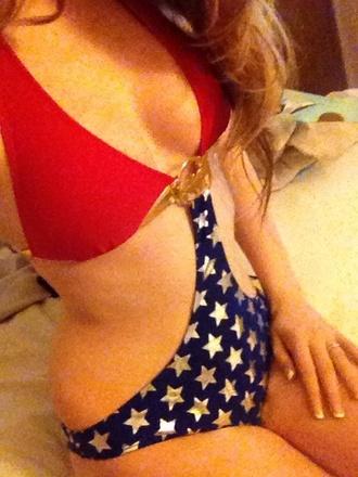 swimwear wonder woman superheroes bikini monokini red blue stars gold
