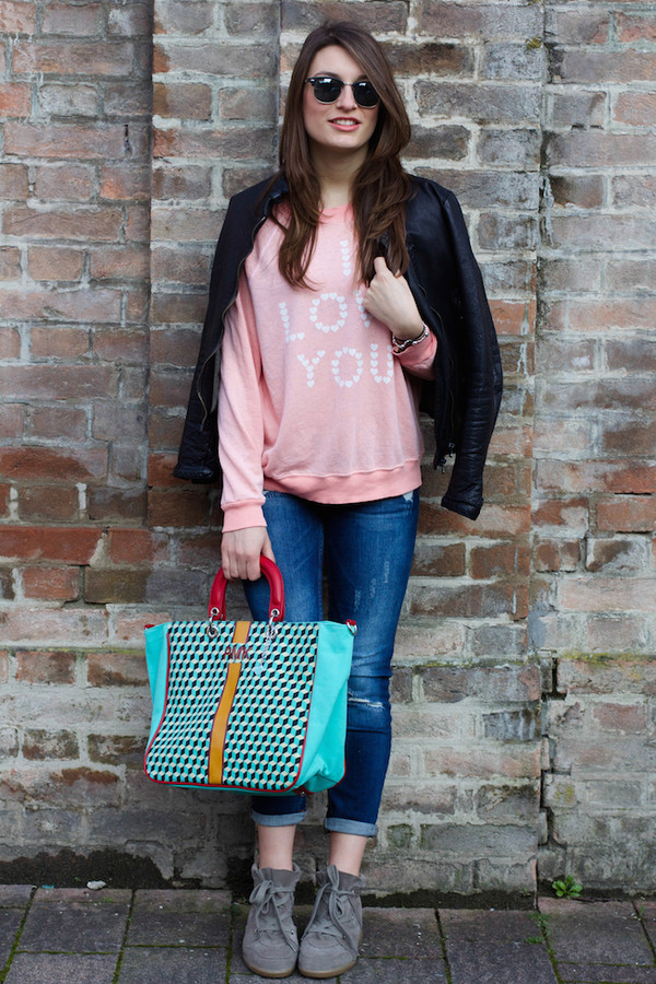 style and trouble sweater jeans jacket sunglasses shoes bag