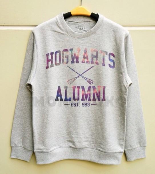 sweater harry potter sweater hogwarts sweatshirt galaxy print grey sweater