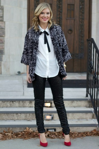 life with emily blogger top jacket leggings shoes pants sequin pants black pants sequins pumps pointed toe pumps high heel pumps red heels shirt white shirt cardigan grey cardigan holiday season