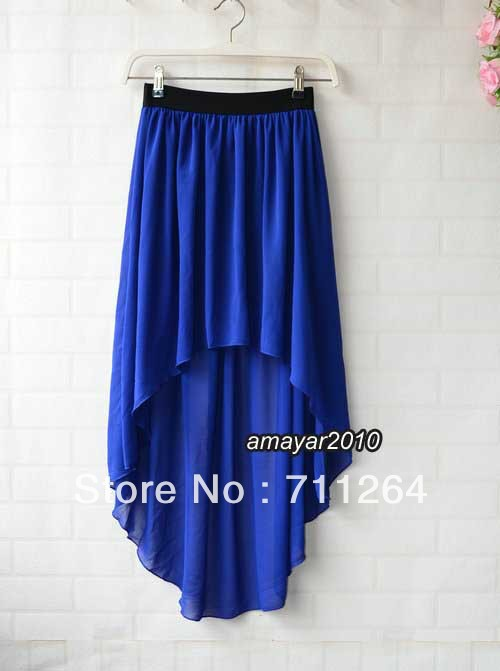 Blue Women Sexy Asym Hem Chiffon Skirt High Low Asymmetrical Long Maxi Elastic Waist-in Skirts from Apparel & Accessories on Aliexpress.com