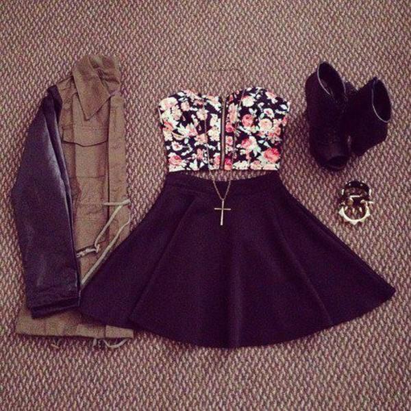 jacket skirt black cross necklace floral crop tops high heels bracelets leather jacket