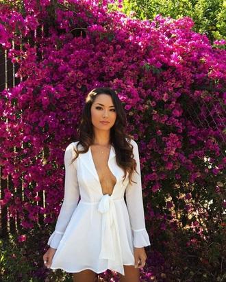 dress white white dress chiffon chiffon dress v neck dress plunge v neck plunge neckline summer dress summer summer outfits hapa time