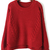 Red Long Sleeve Cable Knit Dipped Hem Sweater - Sheinside.com