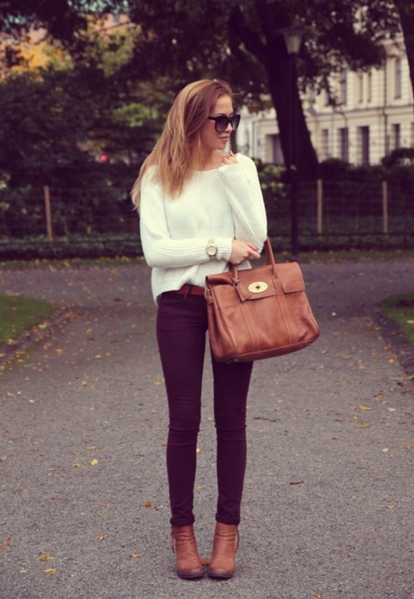 sweater knit white boots bag knitted sweater jumper brown leather bag