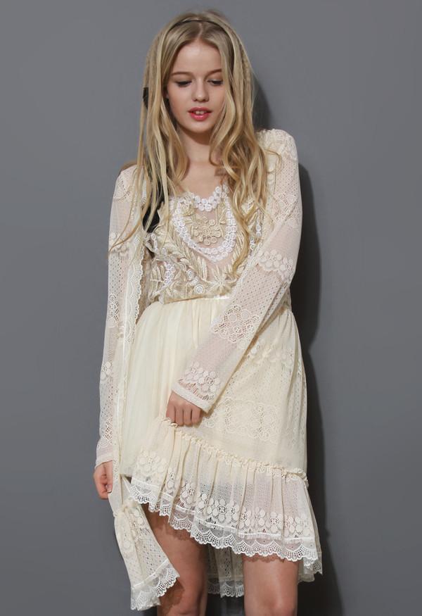 coat full lace cardigan ivory