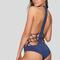 Pagoda one piece in sapphire