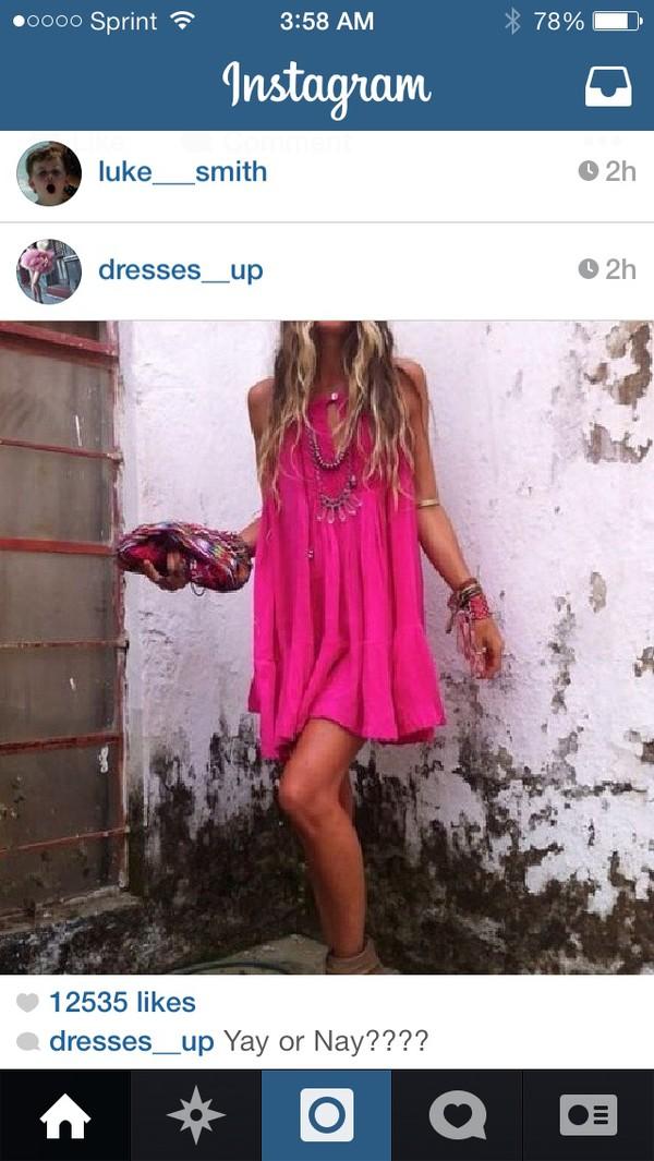 necklace dress pink dress