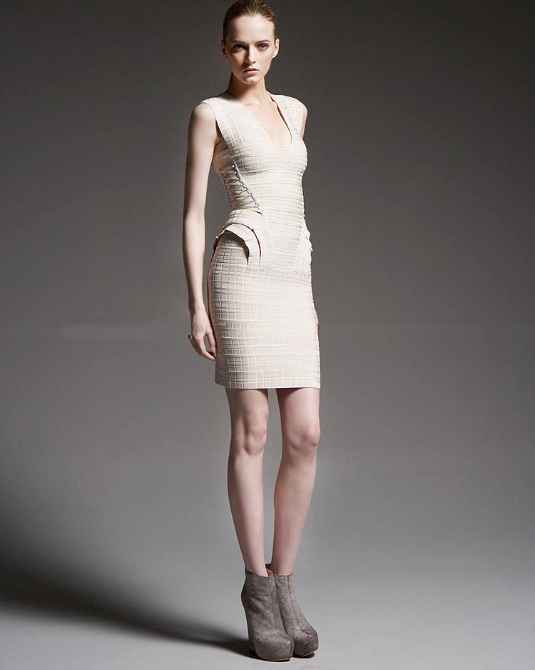 Beige U-neck Flocking Flounces Bandage Dress H887$129