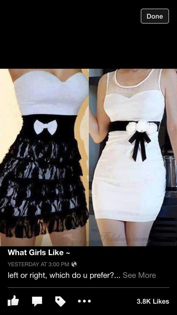 dress black and white dress bow lace dress