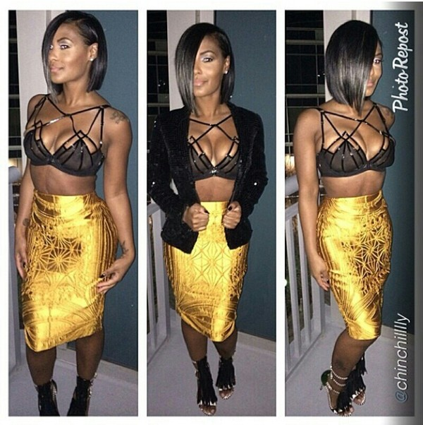 jacket crop tops black midi skirt luxury fashion gold tank top skirt