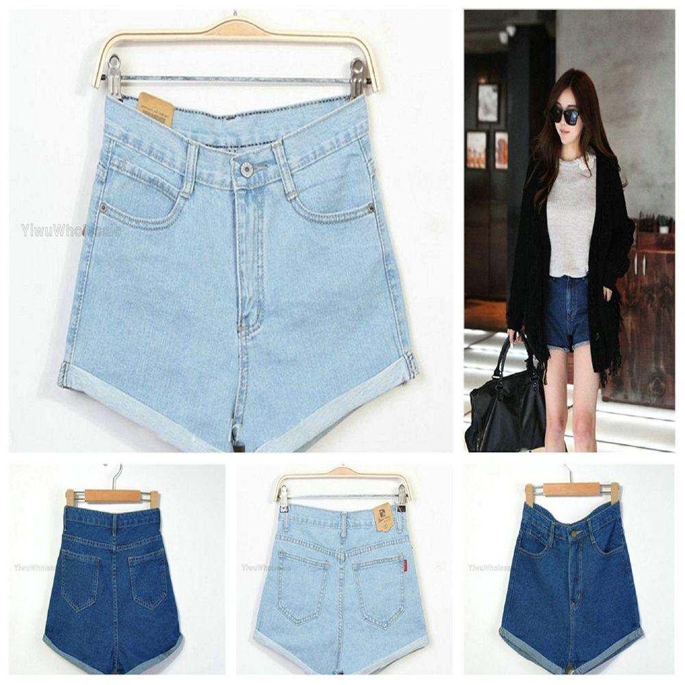 New Girl Women's Retro High Waist Blue Crimping Jeans Short Pants | eBay