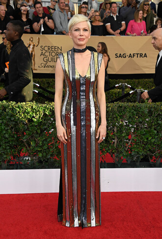 dress sequins sequin dress sequin prom dress michelle williams red carpet dress red carpet gown prom gown sag awards metallic silver