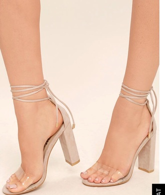 shoes nude nude heels clear heels strappy heels chunky heel open toes high heel