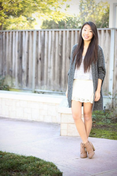joyful outfits blogger cardigan knitted cardigan white skirt top skirt shoes