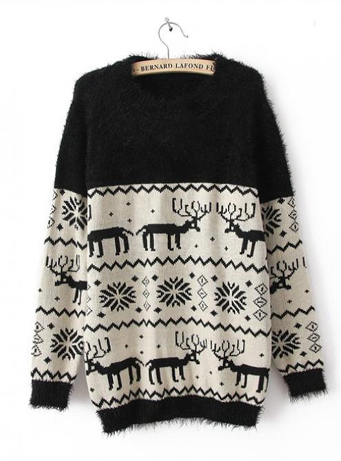 X'mas Deer Bat Sleeve Sweater Black$42