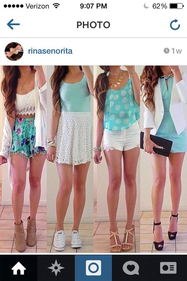 shirt shorts dress skirt jewels shoes