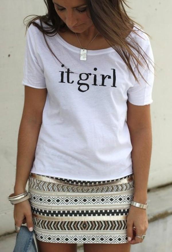 shirt white it girl short sleeve skirt jewels necklace rectangle silver t-shirt