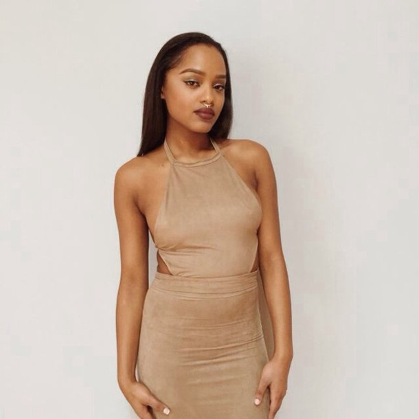 dress nude dress halter neck