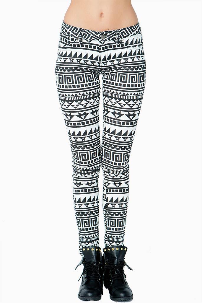A'GACI Tribal Print Skinny Jean - BOTTOMS