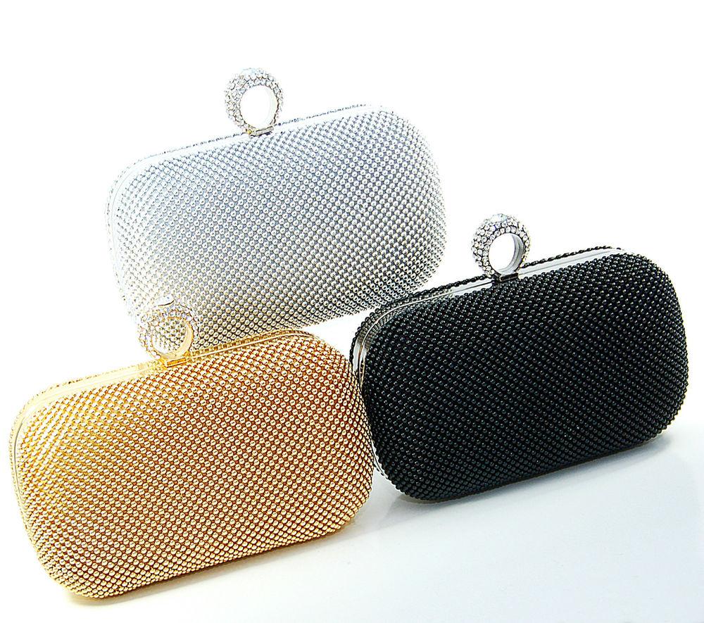 Abendtasche Brauttasche Clutch Handtasche Partytasche Schlagringe Crystal Strass | eBay
