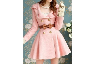 jacket pink dress coat blair waldorf trench coat lace bows jewels cute girly pink coat with bow peacoat dress pea coat wool pea coat dress pink dress pink coat