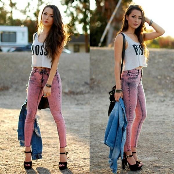 t-shirt jeans denim high waisted jeans rock acid wash shoes pants pink jeans pink pants boss crop tops