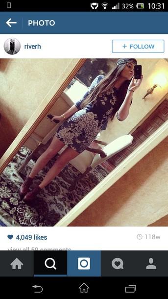 dress navy blue/white dress boho dress